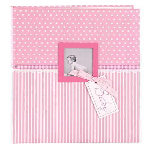 goldbuch 15801 Babyalbum mit Fensterausschnitt, Sweetheart, 30 x 31 cm, Baby Fotoalbum mit 60 weiße Blankoseiten & 4 illustrierten Seiten und Pergamin-Trennblättern, Kunstdruck, Pink