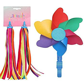 LITOON Bicycle Handlebar Streamer & Bike Pinwheel Windmill Colorful Decoration Accessories for Kid s Bicycle Handlebar Scooter Tricycles