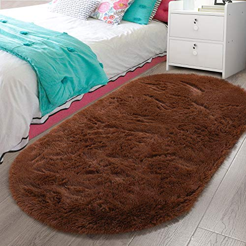 LOCHAS Luxury Velvet Fluffy Carpet Soft Children Rugs Room Mat Modern Shaggy Area Rug for Bedroom Bedside Home Decor 2.6' x 5.3', Brown