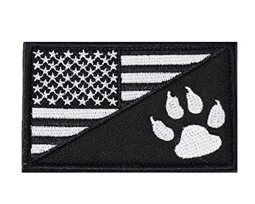 U-LIAN US Flag Tactical Dog Tracker Embroidered Applique Morale Hook & Loop Patch Velcro Patch (Black&White)