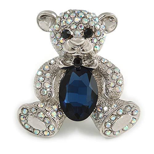 Avalaya AB Crystal Dark Blue Glass Stone Teddy Bear Brooch/Pendant in Silver Tone - 45mm Long