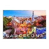 Póster vintage de Barcelona España urbana ciudad de Barcelona Skyline Adventure Travel Paris III lienzo arte de pared decoración de sala de estar dormitorio Unframe: 50 x 75 cm