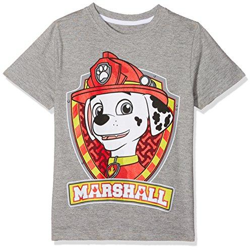 PAW PATROL Jungen Marshall Shield T-Shirt, Grau (Grey Marl), 3-4 Jahre