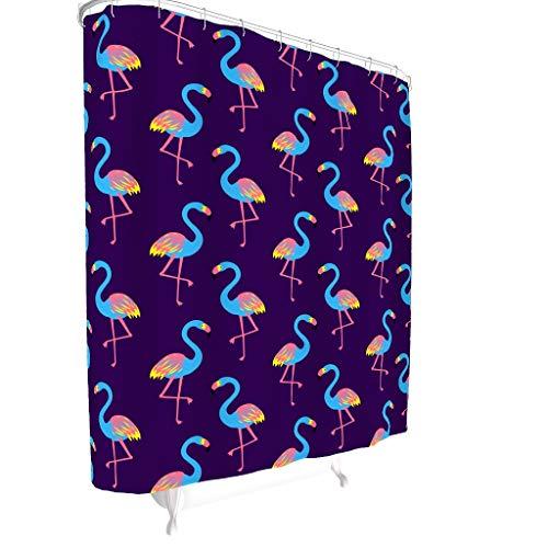 Zhcon Flamingo patroon bedrukte douchegordijnen met gratis haken waterafstotende badkamer Decor bad gordijnen