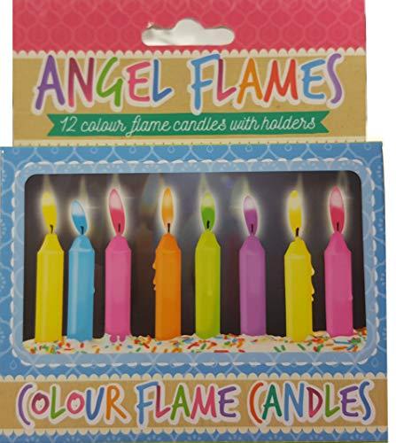 Lot de 12 bougies colorées pour gâteau d'anniversaire