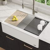 Kraus KGF1-33White Bellucci 33-inch CeramTek Granite Quartz Composite Farmhouse Flat Apron Front Single Bowl Kitchen Sink with Cutting Board, 33 Inch, White