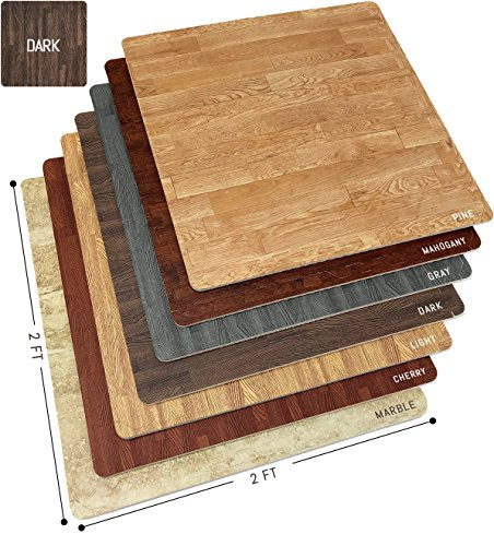 Sorbus Wood Floor Mats Foam Interlocking Wood Mats Each Tile 4 Square Feet 3/8-Inch Thick Puzzle Wood Tiles with Borders – for Home Office Playroom Basement (12 Tiles 48 Sq ft, Wood Grain - Dark)