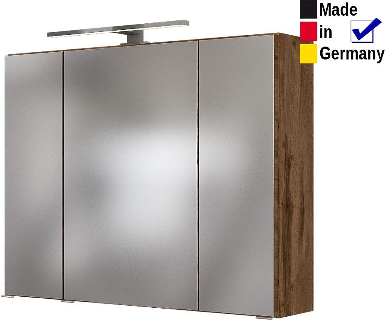Expendio 3D Spiegelschrank Britt 7 Wotan Eiche 80x66x20 cm Badspiegel LED-Beleuchtung Wandschrank Badschrank Badmbel Badezimmer