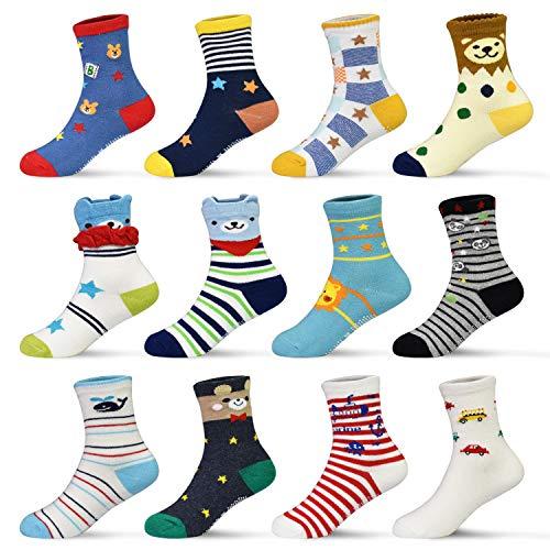 HYCLES ABS Socken Kinder - 12 Paar Anti Rutsch Socken Baby Jungen Mädchen Kinder Kleinkind 16-23-26-31(EU) für 1-3 Jahre Kleiner Bär&Star(12 Paar)