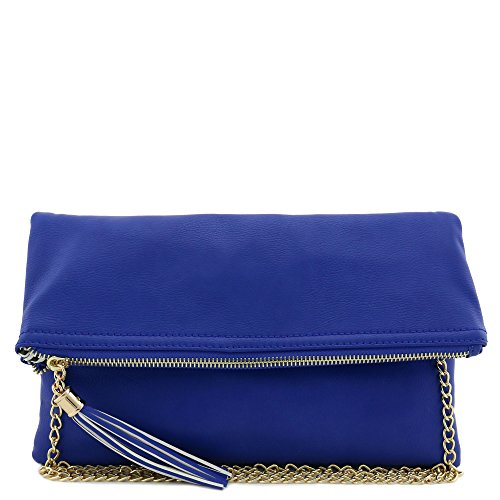 Tassel Accent Flapover Clutch Purse with Chain Strap Royal Blue