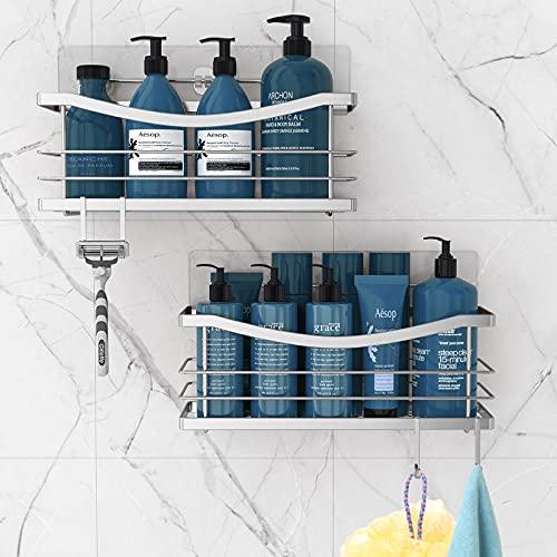 Oriware Estantería de ducha Caddy cesta de ducha con ganchos para esponja, afeitadora. Acero Inoxidable Organizador estante cocina,autoadhesivo sin taladrar–2 unidades