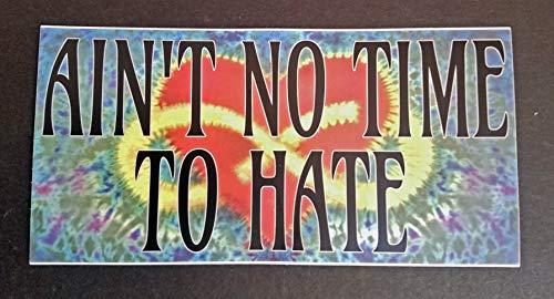 Ain't no Time to Hate 7'w x 3.5'h Bumper Sticker - Dead Tie Dye Peace Love - Die Cut Vinyl