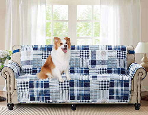 """Brilliant Sunshine Blue Plaids and Stripes Patchwork, Reversible Large Sofa Protector for Seat Width up to 70"""", Furniture Slipcover, 2"""