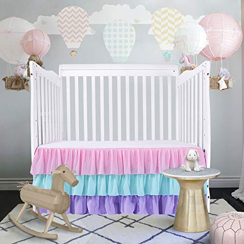 CO-AVE Rainbow Crib Skirt 3 Ties Dust Ruffle Baby Bed Skirt Nursery Crib Skirting for Boys and Girls,15