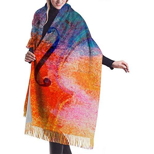 Regan Nehemiah kasjmier grote sjaal oude viool op de bladmuziek liggen dames wikkelsjaal meisje wikkelsjaal warme deken