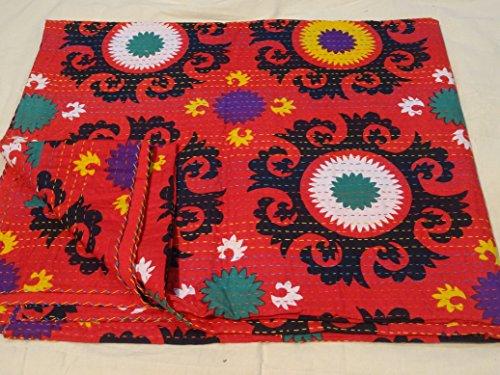 fabriqu/é Coton Patchwork Couvre-lit Sophia Art Indien Kantha Suzani Couette Imprim/é Vintage Main Bloc Imprim/é Kantha Multi