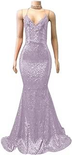 Jonlyc Women's Mermaid Spaghetti Straps Sequined Open Back Long Prom Dresses Formal Gowns