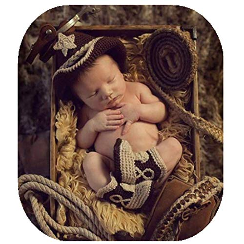Coberllus Newborn Baby Photo Props Christmas Boy Girl Photo Shoot Outfits Crochet Knit Hat Shorts Boots Photography Props, Red and White, 0-3 months