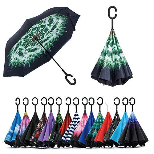 Paraguas de doble capa invertido Jooayou con mango en forma de C, plegable, resistente a los rayos UV y al viento, para viajar, con bolsa de transporte, Mujer, Dandelion