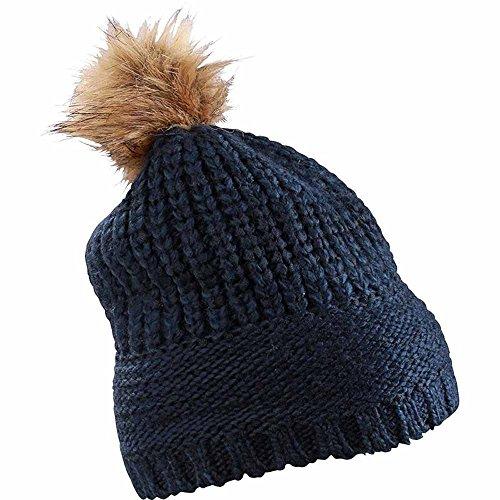 MYRTLE BEACH - bonnet à pompon fausse fourrure - MB7975 - mixte homme/femme (bleu marine)