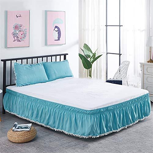 CQZM Haarball Elastische Bettvolant Babybett Gesteppter Einstellbar Bed Skirt Queen Wrap Around Style rutschfest Bettrock Tagesdecke Für Schlafzimmer Hotel EtcD-180x200cm(71x79inch)
