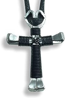 black horseshoe nail cross necklace