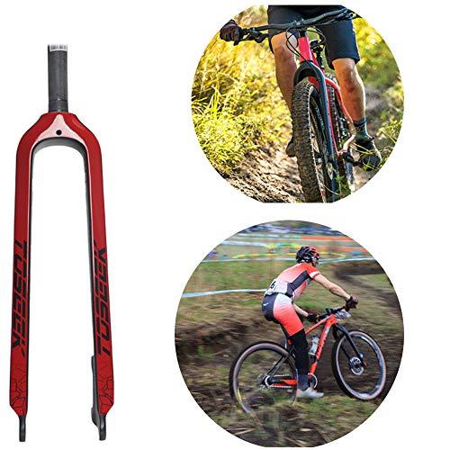 YSHUAI Fourche de Vélo VTT 26 27.5 29 Pouces en Fibre de Carbone 1 1-1/8 inchs Ultraléger Fourche VTT,Rouge,29 inch