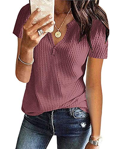 AUSELILY Women's Summer Waffle Knit Short Sleeve Tunic Tops V Neck Henley Loose Blouses Shirts(Mauve,M)