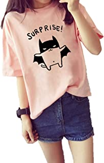 KKRO Tシャツ レディース カットソー シンプル かわいい プリント ファッション 韓流 夏服 半袖Tシャツ 女性 トップス
