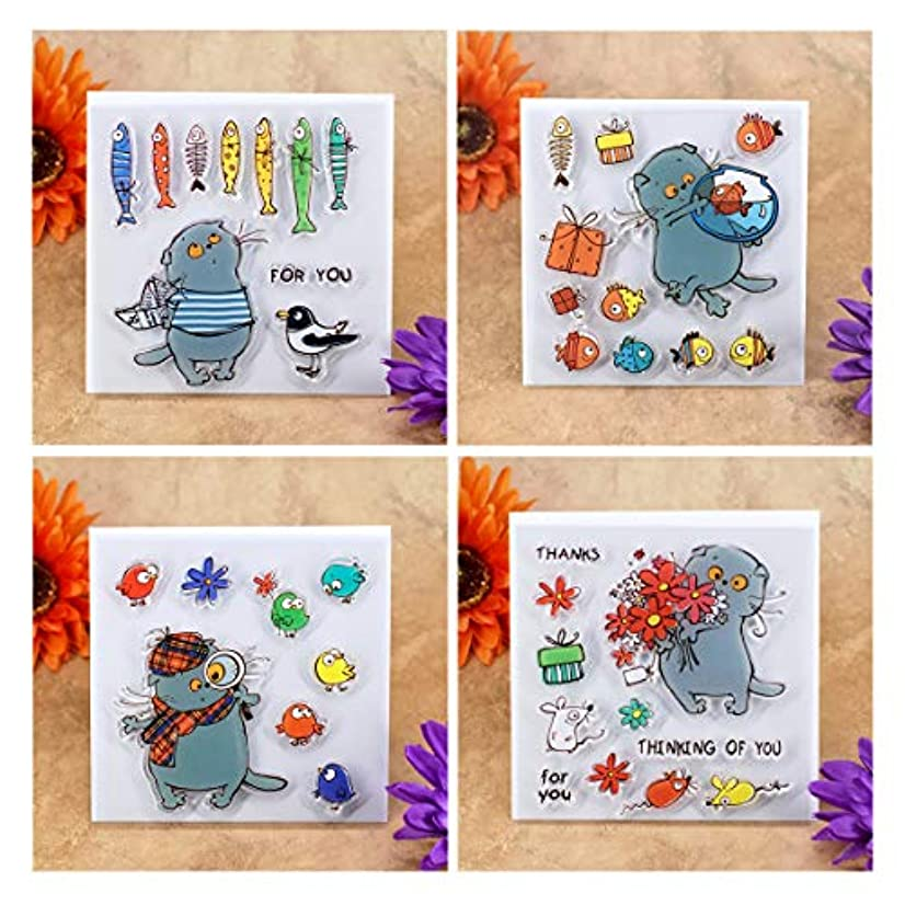 Kwan Crafts 4 Sheets Different Style Cat Fish Thanks Clear Stamps for Card Making Decoration and DIY Scrapbooking