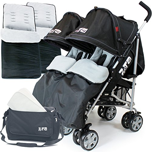 Zeta Twin Stroller - Black Complete with x2 Deluxe footmuff + Changing...