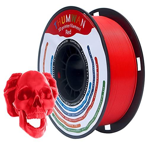 Filamento PLA 1,75 mm Rosso, THUMWAN Nuovo filamento PLA, stampante 3D Filamento PLA per stampante 3D e penna 3D, 1 kg 1Spool