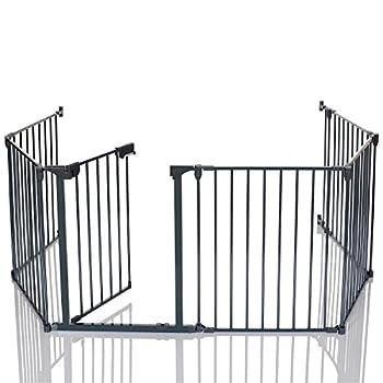 LCP Kids Barrière de Sécurité Extensible Cheminée Grille de Protection avec 1 Porte et 5 Panneaux Longueur Totale 360 cm