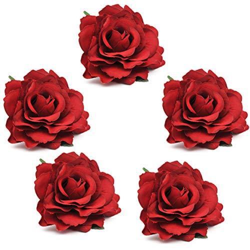 Coucoland Rose Blumen Brosche Haarclips Braut Hochzeit Haarschmuck Flamenco Tanz Haarspange Damen Fasching Kostüm Accessoires (5 Stück - Rose)