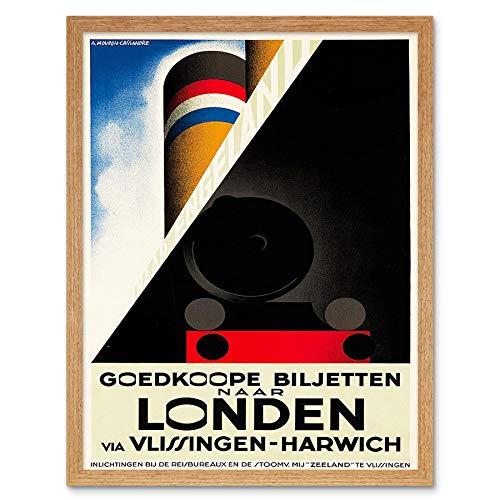 Wee Blauwe Coo Reizen Vlissingen Harwich Lijn Schip Spoorlijn Nederland Art Print Ingelijste Poster Wanddecoratie 12X16 Inch