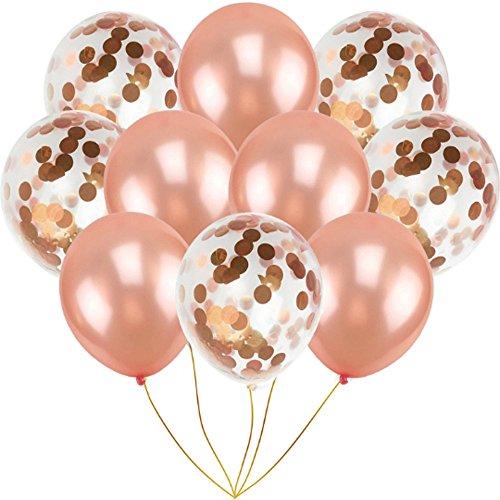 Hunpta Globos de cumpleaños de oro rosa para el año nuevo inflables para niñas, niños, mujeres, hombres, decoraciones de fiesta con globo de confeti, globos rojos de San Valentín (oro rosa)