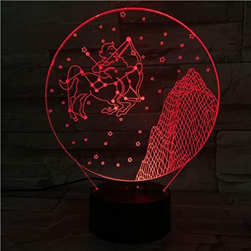 Boogschutter sterrenbeeld 3D Illusie Lamp Nachtlampje Naast Tafellamp 7 Kleuren veranderen Touch Switch Children's Slaapkamer Decoratie Lampen Verjaardagscadeau met Afstandsbediening