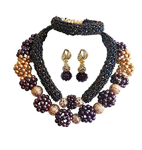PrestigeApplause - Jewels UK Exklusive Lila & Gold Pearl Swarovski Element Beads Party Hochzeit Brautschmuck Set