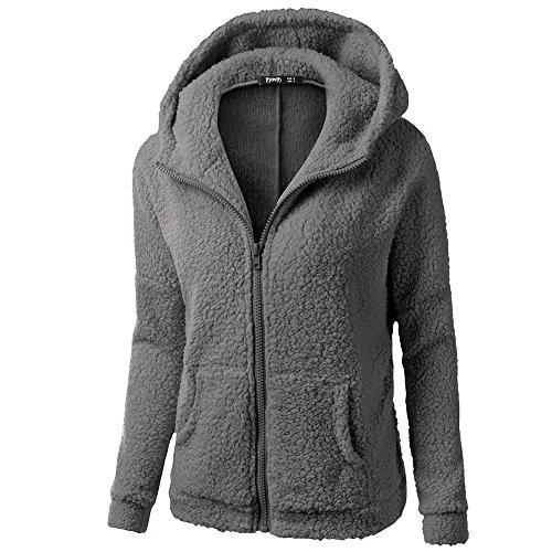 Frauen-mit Kapuze Strickjacke-Damen Dicke Kapuzenpullover Mantel Oversize-Winter Warmer Plüsch Wolle-mit Reißverschluss Baumwollmantel Outwear Sweatshirt URIBAKY