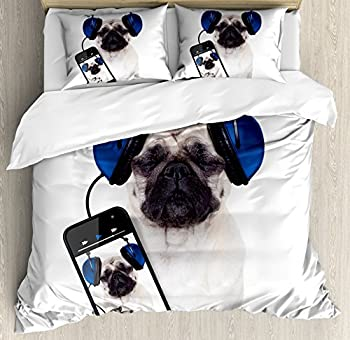 Ambesonne Pug Duvet Cover Set Dog Listening Music on The Smartphone Groovy Cool Headphones Animal Funny Image Decorative 2 Piece Bedding Set with 1 Pillow Sham Twin Size White Blue