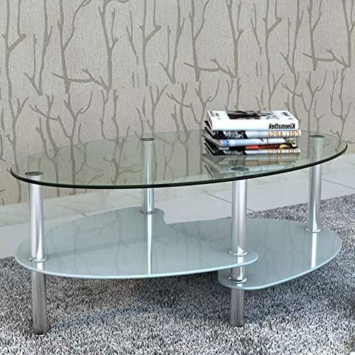 SOULONG Mesas Auxiliares para Salon,Mesa de Centro de Vidrio con Diseño Exclusivo Blanca,90 x 45 x 43 cm