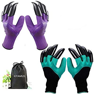 Garden Genie Gloves, Waterproof Garden Gloves with Claw for Digging Planting, Best Gardening Gifts for Women and Men. (Purple-Green) from XJYAMUS