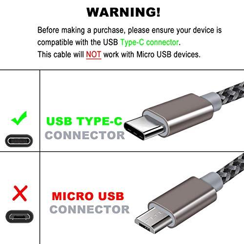 USB C Kabel, Typ C ladekabel, 3 Pack [1.8m+1.5m+1.8m] Datenkabel Nylon Stabil Fast Charge QC Schnell Ladekabel für Type C Samsung S10 S9 S8 Huawei P30 P20 P10 Pixel Xperia XZ Gold Rosa Grau