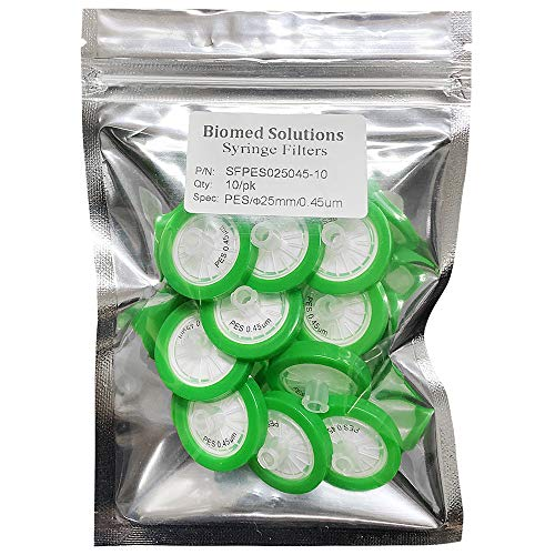 Syringe Filters PES (Polyethersulfone) 25mm Diameter 0.45 um Pore Size Non Sterile Pack of 10