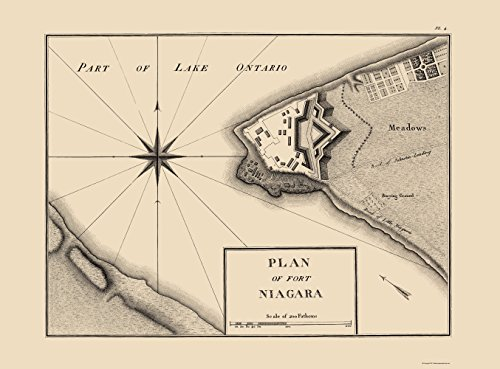 MAPS OF THE PAST Fort Niagara New York Plan - Collot 1796-23.00 x 31.14 - Glossy Satin Paper