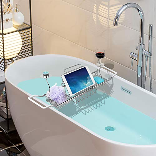 iPEGTOP 304 Stainless Steel Bathtub Caddy Tray Expandable Bath Organizer, Tub Shelf for Reading with...