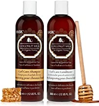 HASK COCONUT MILK + HONEY Shampoo and Conditioner Set Curl Care - Color safe, gluten-free, sulfate-free, paraben-free - 1 Shampoo and 1 Conditioner