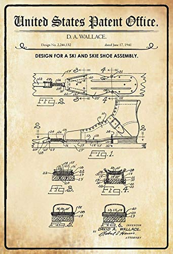 NWFS patent ontwerp voor een skischoen - binding wallace metalen bord bord bord metaal tin teken gebogen gelakt 20 x 30 cm