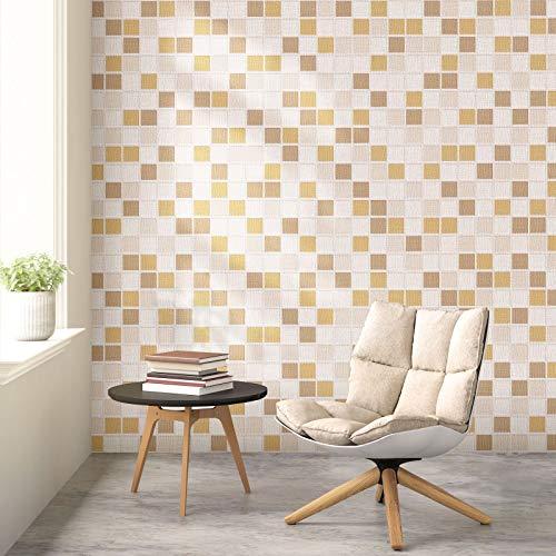 KINLO Fliesenaufkleber selbstklebend Mosaik Folie Stein Tapete Möbelfolie 0,6x5M Klebefolie Wandtapete Verdicke 0,42mm Wandaufkleber für Schlafzimmer Wohnzimmer Küche | Kleiner Ziegel B