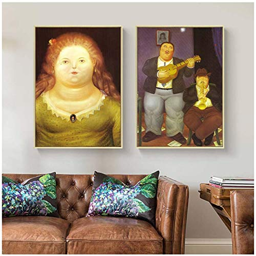 Koucas Large Canvas Wall Art Funny Fat Mona Lisa Poster Classic Da Vinci Figure Picture for Living Room Home Decor 15.7x23.6in(40x60cm) x2pcs No Frame